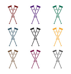 crutches icon in black style isolated on white vector image