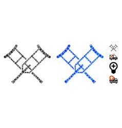 Crutches mosaic icon round dots vector