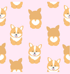 cute corgi dog seamless pattern vector image