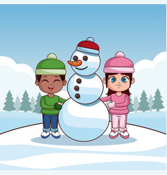 cute kids with winter clothes vector image