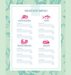 delicious seafood - drawn template menu vector image