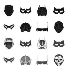 Design of hero and mask icon collection of vector