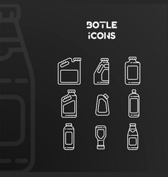 design white icons bottles and cans vector image