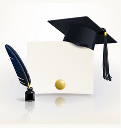diploma graduation with a graduate cap vector image