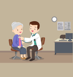Doctor examining chest a elderly woman vector