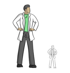 doctor in gown with arms akimbo vector image