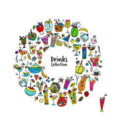 drinks collection sketch for your design vector image