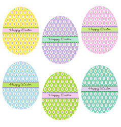 easter eggs with flower patterns vector image