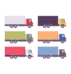 euro truck metal container set in bright colors vector image