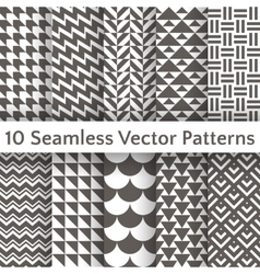 Fashionable geometric seamless pattern set vector