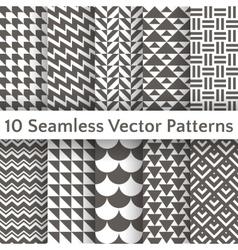 Fashionable geometric seamless pattern set vector image