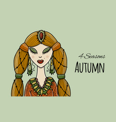 female beauty autumn style for your design vector image