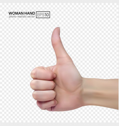 female hand on a transparent background shows vector image