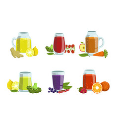 Fruit and vegetables smoothies set healthy detox vector
