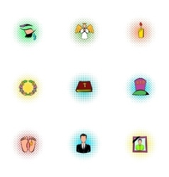 Funeral services icons set pop-art style vector
