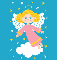 Girl angel on the cloud vector