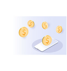gold us dollar coin smartphones futuristic smart vector image