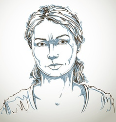 Graphic hand-drawn of white skin angry lady vector