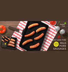 grill mild pork sausages ads vector image