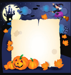Halloween night with parchment pumpkins and old vector