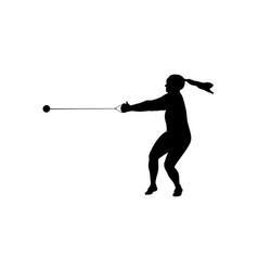 Hammer throw female athlete vector