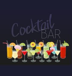 Hand drawn cocktails cocktail bar menu on dark vector