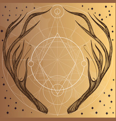 Hand drawn deer antlers with geometric ornament vector