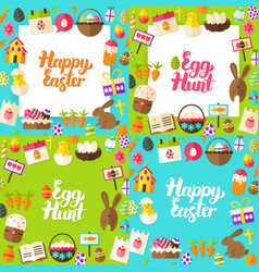happy easter lettering postcards vector image