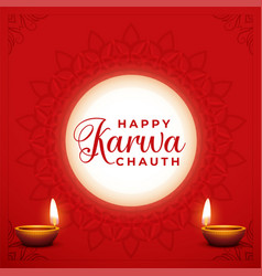Happy karwa chauth decorative card with moon vector