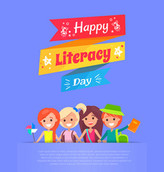 Happy literacy day banner vector