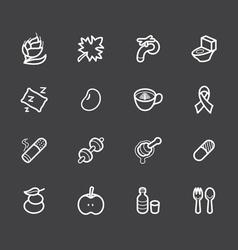 Healthy element white icon set 2 on black vector