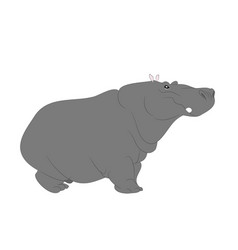 hippopotamus stands drawing color vector image