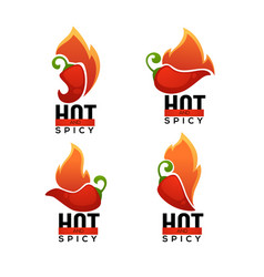 Hot and spicy chili pepper logo icons and vector