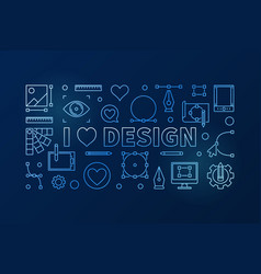 I love design blue horizontal thin line vector
