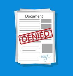 Illstration denied document flat design vector