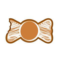 Isolated bitten bowtie gingerbread vector