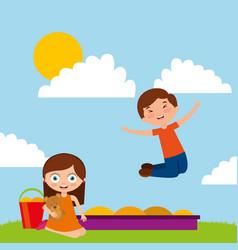 kids playing cartoon vector image