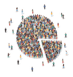 large group people forming pie chart flat vector image