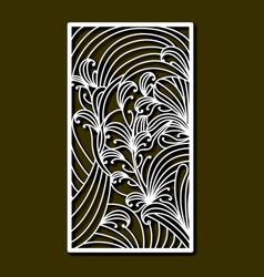 laser cutting rectangular frame with floral design vector image
