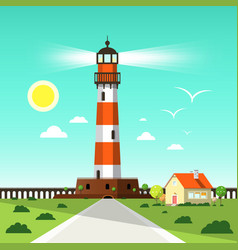 lighthouse tower with seagulls on blue sky house vector image