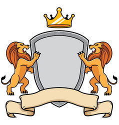 lions holding shield vector image