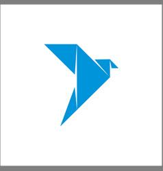 logo origami bird fly blue vector image