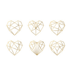 Luxury collection of polygonal hearts vector