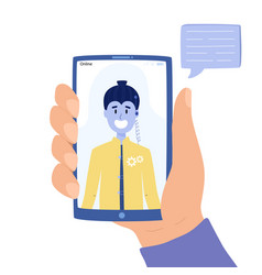 man chatting with chatbot on mobile phone concept vector image