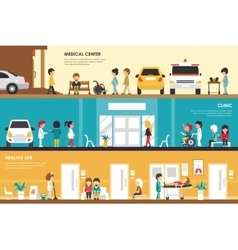 Medical Center Clinic and Healthy Life flat vector image