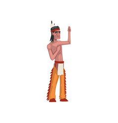 native american indian man showing hand sign vector image