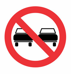 no overtaking traffic sign vector image