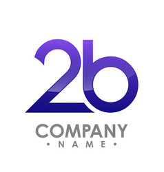 number two and letter b 3d logo design template vector image