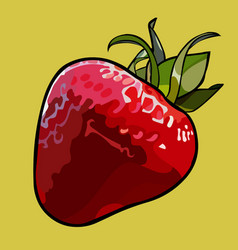 Painted cartoon red strawberry with green leaves vector