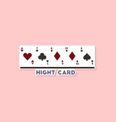 Paper sticker on stylish background poker high vector